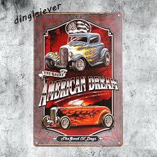 metal car wall art american dream car vintage metal sign home decor hot rod posters antique metal car wall art