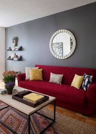 Living Room With Red Sofa Living Room With Round Mirror And Red Sofa With Cushions And