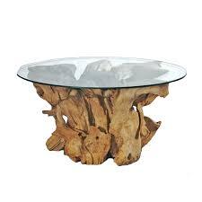 Massiver Runder Tisch Root 01 Aus Wurzelholz Teak Mit Glasplatte