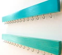 Jewelry Organizer Wall Jewelry Organizer Necklace Holder Wall Turquoise Wood