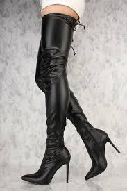 liliana gisele 50 black leather stretchy thigh high