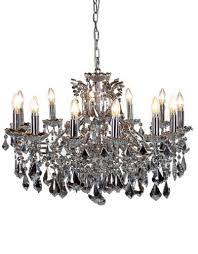 12 arm chrome shallow chandelier mirrored crystals