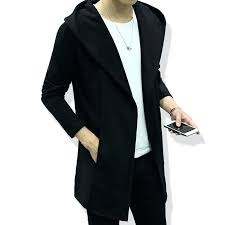 hooded trench coat men style hooded trench coat men full sleeve slim hooded trench coat