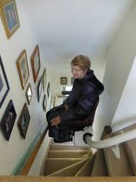 stair lift down the steep back stairs