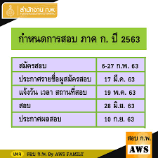 สอบ ก.พ. By AWS Family - 📣 กำหนดการสอบ ก.พ. ภาค ก. ปี 2563 มาแล้วกำหนดการ  สอบของ ปี 63 #แชร์ด่วน อ่านหนังสือกันได้แล้ว ปีนี้มีกฎหมายเพิ่มมาด้วย  ต้องเตรียมตัวมากกว่าเดิม . 🔸สมัครสอบ 6-27 ก.พ. 63 🔸ประกาศรายชื่อผูสมัครสอบ  17 มี.ค. 63 🔸แจ้งวัน เวลา