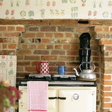 Charming Kitchen Wallpaper Ideas Exposed Brick And Beams