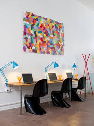 inspirational wall art for home office ideas with unique black chairs