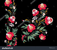 Floral Embroidery Designs Vector Stock Vector Flowers And Leaf Ornament Oriental Or Russian