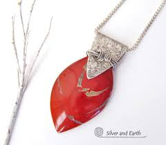 red jasper sterling silver necklace handmade silver stone jewelry silver and earth