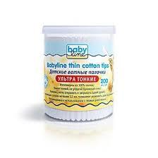 <b>Babyline ватные палочки ультратонкие</b>, <b>ультратонкие</b>, 200 шт ...