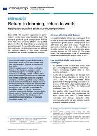 Briefing Note - Return To Learning, Return To Work | Cedefop