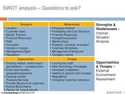 Situational Analysis Questions Mba4sme Swot Analysis