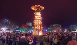 the german pyramid joins a community tree downtown fredericksburg the lighting takes place