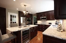 dark cabinets light granite kitchen contemporary with island