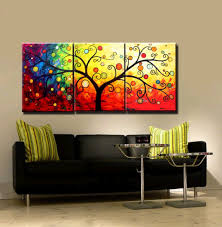three piece wall art 3 piece canvas art hand painted canvas modern abstract tree oil paintings for living room wall decoration home unique gift