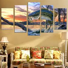 printed modular frame picture large canvas painting poster 5 panel fish for bedroom living room home