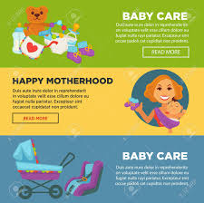 Baby Banners Template Baby Care And Newborn Child Motherhood Web Banners Template Flat