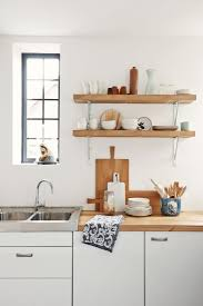 Kitchen Wall Shelf Unpolished Birch Wood Wall Shelves With Metal Bracket Over White
