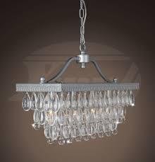 sapphire matte silver crystal glass drop 3 light chandelier 20 lx 7 5