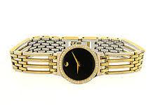 movado esperanza gold wristwatches ladies movado esperanza gold tone diamond watch black museum dial heavily loved