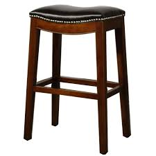 Brown Blue Leather Bar Stools D54