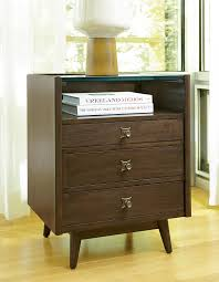 midcentury modern silver lake nightstand with glass top and shelf