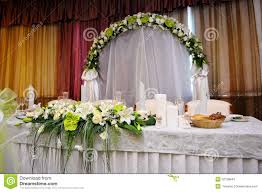 Bride Groom Table Decoration White Bouquet Of Flowers On A Festive Table Bride And Groom Stock
