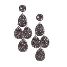 earrings dangle drop swarovski crystal silver plated metal chandelier earring clip