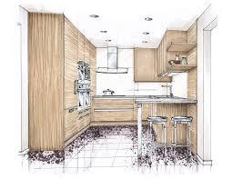 Marker Rendering Interior Design Koor Color Marker Rendering Kitchen Wood Interior