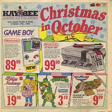 the ad from the 1989 features all of the toys we dreamed of including game boy nintendo barbies baseball cards and action figures