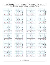 4 Digit By 1 Digit Multiplication With Grid Support A