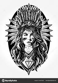 Indiánské ženy Tetování Umění Holka Etnické Bojovník Stock Vektor