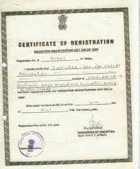 Certificate Of Registration For Ngo Trust And Society 2014
