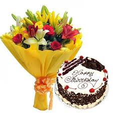 Birthday Cakes And Flowers Bouquet Buy Online At Gift Decor Shop