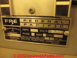 how to identify recognize federal pacific electric fpe stab lok fpe stab lok panel lable c inspectapedia jc
