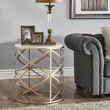 gold end table. Paisley Round Gold End Table With Marble Top By INSPIRE Q Bold