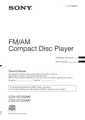 sony cdx gt250mp operating instructions manual pdf download Sony Stereo Wiring Diagram Sony Cdx Gt21w Wiring Diagram #48