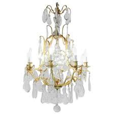 antique french 1930 s gilt and crystal birdcage chandelier for