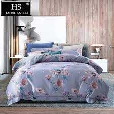hs gray blue 3d bedding sets camellia pattern digital printing duvet cover set slik cotton bed linen set queen king size full duvet covers bedroom linen