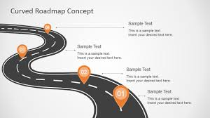 Road Map Powerpoint Curved Road Map Concept For Powerpoint Slidemodel