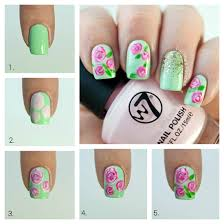 Roses Nail Art Tutorial - Pink roses with a Mint Base.