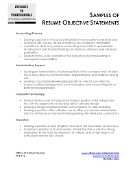 examples of resume objective statements template examples of resume objective statements