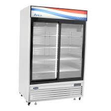 atosa glass door refrigerator 2 sliding doors 45 0 cu ft capacity mcf8709