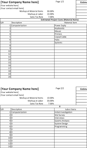 blank estimate template premium templates forms project estimate spreadsheet template excel editable