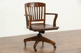 oak 1940 vintage swivel adjule desk chair arms per