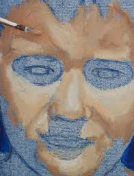 portrait painting of a boy part 1 blue acrylic under painting to support skin tones in oil you