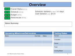 Project Status Sheet Magnificent CCU Modernization Project Status 48 CCU DCIS Project Monthly Status