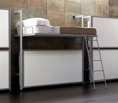 modern wall mounted bunk bed with silver metal materials bed frame
