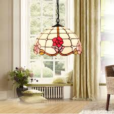 D30cm Tiffany Hängeleuchte Rosen Design 1 Flammig Im Schlafzimmer