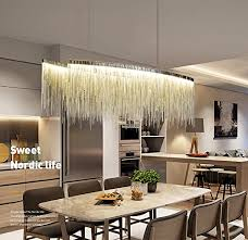 7pm w47 x h14 modern linear aluminum chandelier light pendant lamp modern contemporary chandelier lighting fixture for dining room over table
